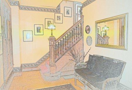 Victorian Foyer Pastel Sketch