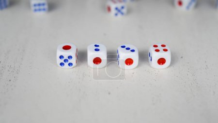 Photo for Dice numbers are arranged in sequence number - Royalty Free Image