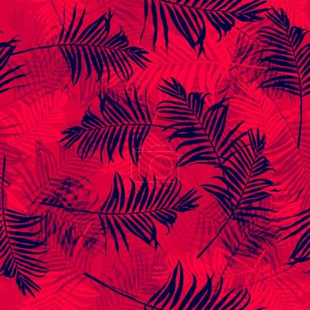 Illustration pour Motif sans couture avec des feuilles de palmier - image libre de droit