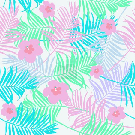 Tropical  background with flowers