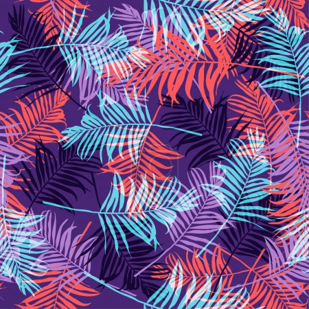 Ilustración de Hojas de Palma tropical neón patrón - Imagen libre de derechos