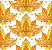 golden lotuses with boho pattern