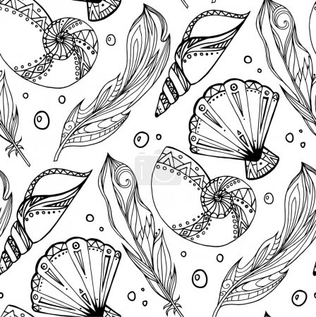 Illustration for Seamless black and white pattern of hand drawn feathers and seashells with boho pattern. Tribal doodle background. Vector element for your creativity. - Royalty Free Image