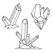 Set of black and white cartoon crystals