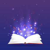 Vector illustration of an open book with rays and musical notes Music notebook study and education