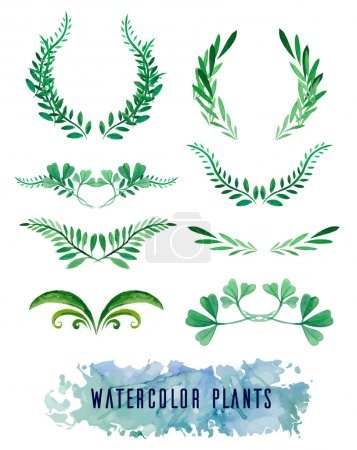 Photo for Wreaths and framework of watercolors of plants for your design - Royalty Free Image