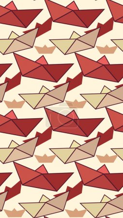 pattern with color paper boats
