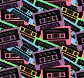 Audio Cassette Retro Tape Recorder seamless pattern background minutes vector illustration