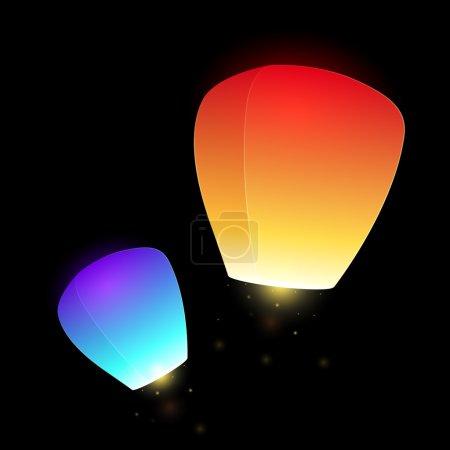 Illustration for Set of blue and orange  flying sky lanterns for your creativity - Royalty Free Image