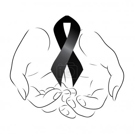 Illustration for Black mourning ribbon in the hands - Royalty Free Image