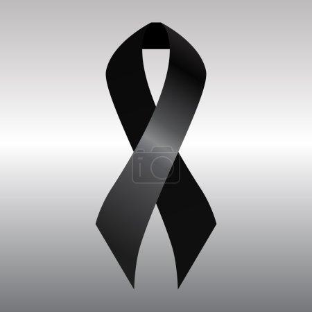 Illustration for Black mourning ribbon on gray background - Royalty Free Image