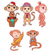 Set of hand-drawn cartoon monkeys for your creativity