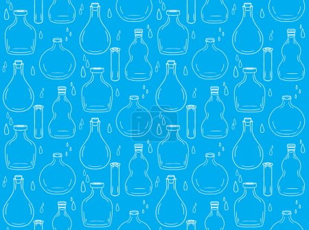 Illustration for Seamless texture with bottles and jars for your creativity - Royalty Free Image