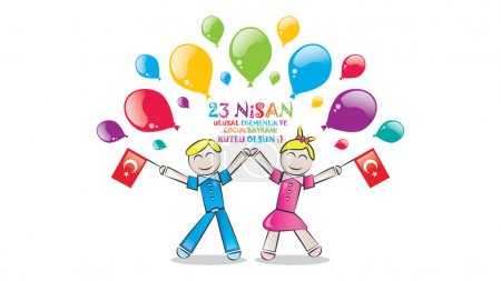 Illustration for Children's day as a gift to all the world's children by Ataturk in April 23 1920. - Royalty Free Image