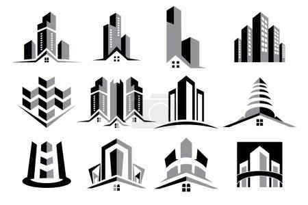 Vector Logo Real Estate Construction Icon Set