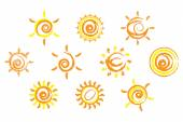 Set of 10 different sun icon orange spiral