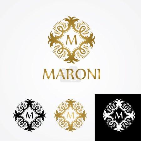 set logo monogram letter M