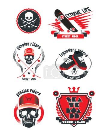 zbiór logo ekstremalne deskorolki