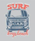 surfing logo with minivan