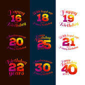 Vector illustration eighteenth birthday 16th 18 20 21 22 25 19 30 40 greetings colorful geometric pattern