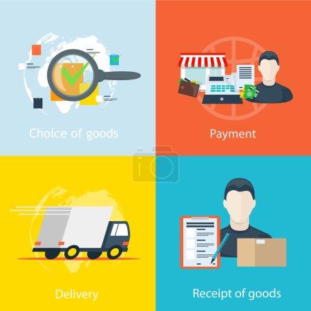 Illustration pour Infographie vectorielle étape par étape instructions pour commander des marchandises en ligne magasins, la sélection des marchandises facture, le paiement de l'achat, la collecte et l'emballage des marchandises, la livraison, la réception des marchandises - image libre de droit