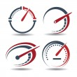 Vector set of abstract tachometers speedometers id...