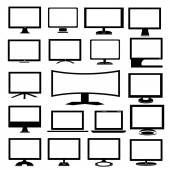 Set of modern monitors on a white background