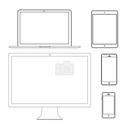 Illustration pour Illustration vectorielle écran moderne, ordinateur, ordinateur portable, téléphone, tablette sur fond blanc - image libre de droit