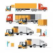 transportation cargo machines logistic set