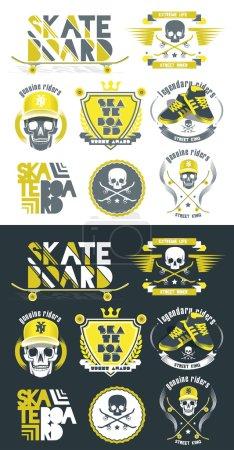 skateboarding, extreme sport logos, icons set