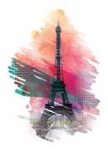 Paris card print design element