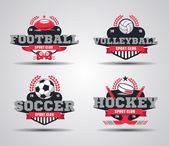 Vector Set of Badges logos for football hockey soccer volleyball vector