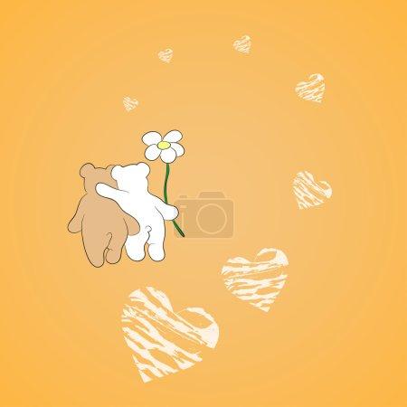 Illustration pour Arrière de deux ours en peluche étreindre mutuellement sur orange. Route de cœur. Vektor illustration. - image libre de droit