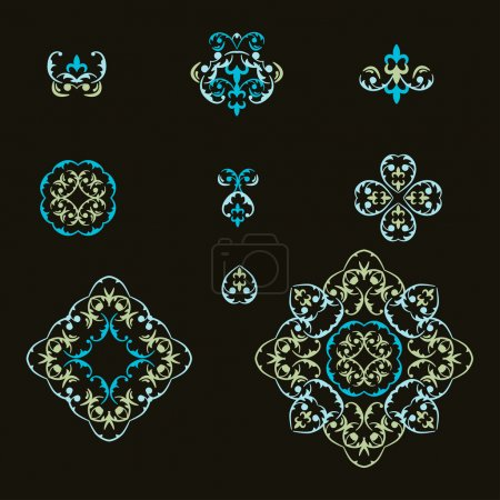 Vector set of vignettes in east  style.