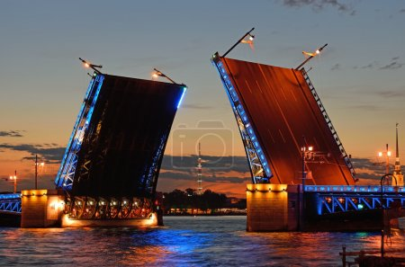 Views of the TV tower in the target separated Palace bridge on Neva river in Saint Petersburg during the white nights