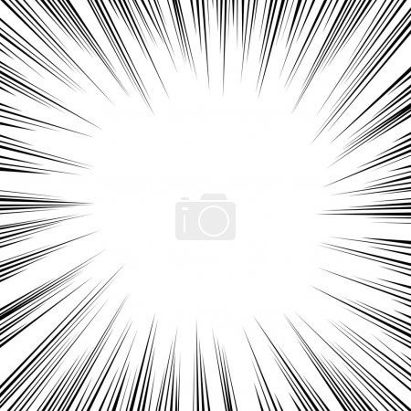 Illustration for Black radial speed lines on white, vector comic book element. - Royalty Free Image