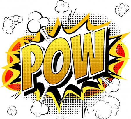 Illustration for Pow - Comic book, cartoon expression isolated on white background. - Royalty Free Image