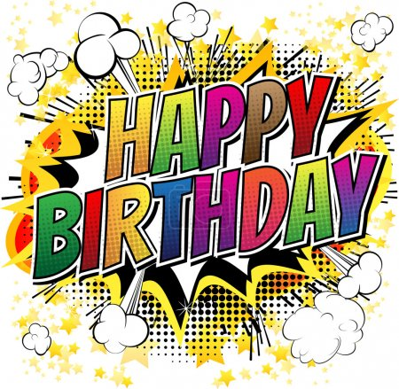 Illustration for Happy Birthday - Comic book style card isolated on white background. - Royalty Free Image