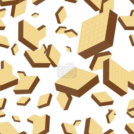 Illustration pour Gaufrettes vectorielles remplies de fond sans couture au chocolat . - image libre de droit