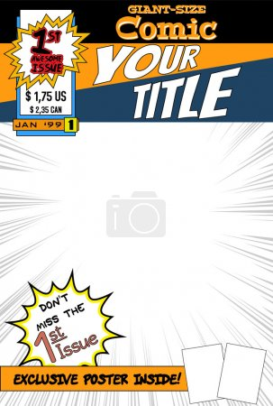 Illustration for Editable comic book cover with blank space. - Royalty Free Image