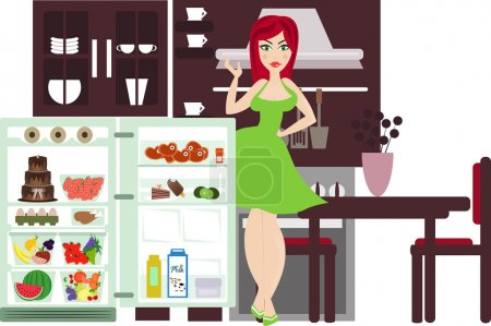 Woman next to a refrigerator in the kitchen
