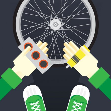 bicycle repair, seal the tire puncture