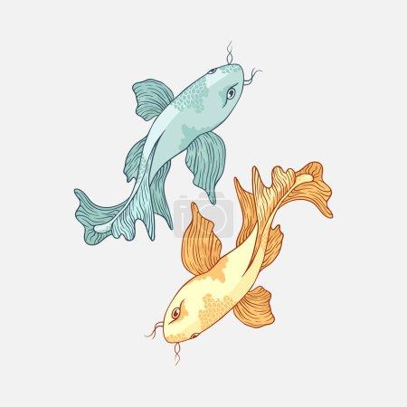 Illustration for Two hand-drawn Japanese carp koi - Royalty Free Image