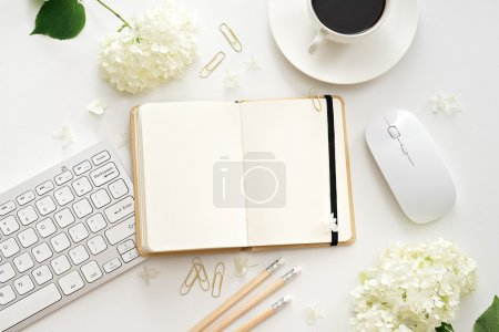 Photo for Flat lay image of workplace - Royalty Free Image