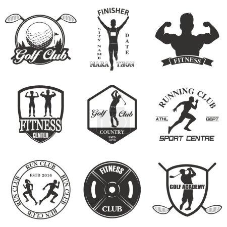 Illustration for Set of vintage sports emblems, labels, badges and logos - Royalty Free Image