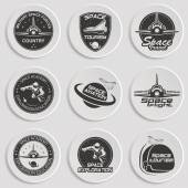 Set of retro and modern space travel badges