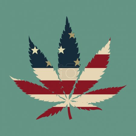 Illustration for Marijuana leaf with the USA flag colors vector illustration - Royalty Free Image