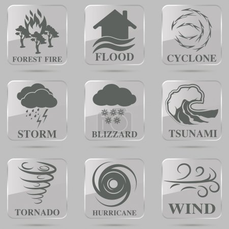 Illustration for Natural disaster icons black set with tsunami snow storm thunder isolated vector illustration - Royalty Free Image