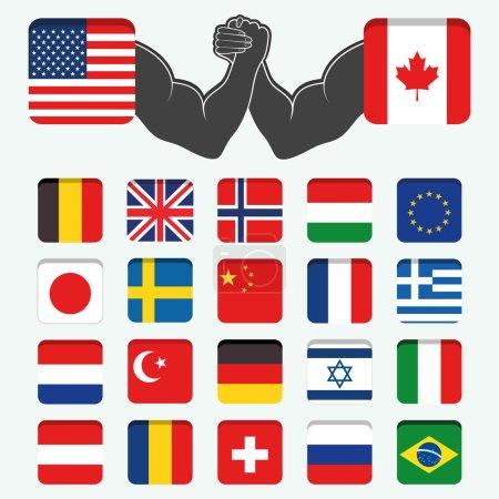 Set of Round Flags world