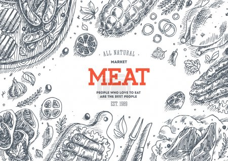 Illustration for Meat market frame. Linear graphic. Vector illustration - Royalty Free Image